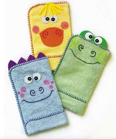 Crafts n' things Weekly - bath time washcloth animal puppets. For the new babies that about to come into my life this breakk!