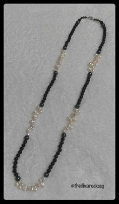 The Swan Necklace. Black agate with fresh water baroque pearls. Wear this as a single strand or double this upon itself as a 2 strand necklace.