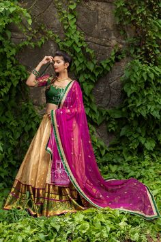 Pretty silk lehenga by Teja Sarees Half Saree Lehenga, Lehenga Style, Bridal Lehenga Choli, Indian Lehenga, Saree Dress, Dress Up, Silk Lehenga, Anarkali, Half Saree Designs