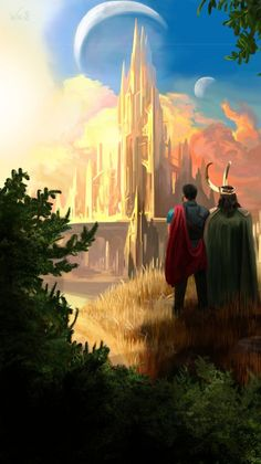 """""""I assure you, brother, the sun will shine on us again. Here is my new art In fact, this is exactly what I represent the end for them. The sun. New Asgard.Thor and Loki …. … And I always think: what could they talk about at. Marvel Cinematic, Marvel Cinematic Universe, Marvel Universe"""