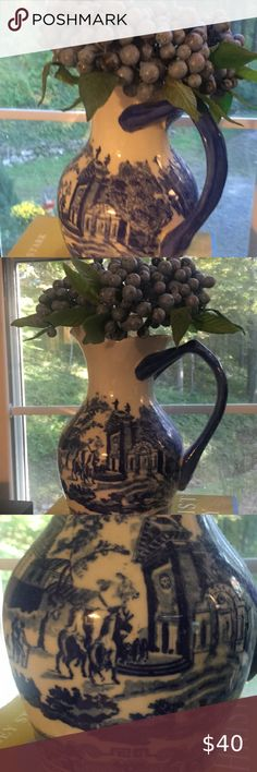 Adorable toile pitcher holding grapes. Grapes are tied up in a Bundle with twine. I love blue and white accessories in my English Country mountain home Other Love Blue, Blue And White, Online Thrift, Twine, Thrifting, Mountain, English, Country, Store