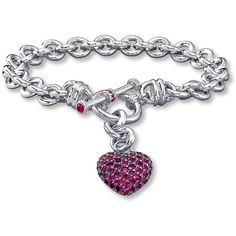 Dangling Heart Bracelet Lab-Created Ruby Sterling Silver ($199) ❤ liked on Polyvore featuring jewelry, bracelets, heart shaped jewelry, sterling silver jewelry, heart jewelry, sterling silver heart jewelry and heart bangle