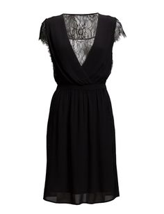 DAY - Day Web Black Dress Inner lining Lace details Ruching Scalloped trim Elastic waistband Sheer back V-plunge at the front Detail down side Day Dresses, Lace Detail, Shopping, Clothes, Black, Fashion, Outfits, Moda, Clothing