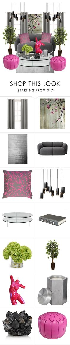 """Grey & Fuschia"" by stephanie-mcclaran ❤ liked on Polyvore featuring interior, interiors, interior design, home, home decor, interior decorating, Sun Zero, Leftbank Art, Designers Guild and Normann Copenhagen"