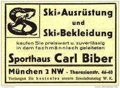 Werbung - Original-Werbung/ Anzeige 1930 - SPORT BIBER MÜNCHEN - ca. 65 x 50 mm