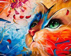 Tiefen Rand umrahmt gestreckt Leinwand Katze von Naushadarts