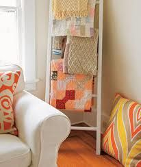 Old ladder as blanket storage