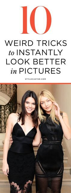 An excellent tutorial on how to pose for pictures, with 10 tricks every girl should know! Unflattering photos happen to the best of us. The camera really does add 10 pounds. Here's how to hack camera angles to look thinner, avoid the dreaded double chin, and end up with an ultimately more flattering depiction of you. | STYLECASTER.com