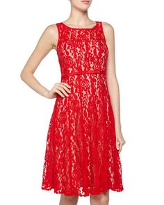 Sleeveless Floral Lace & Bow Cocktail Dress, Red by Taylor at Neiman Marcus Last Call.