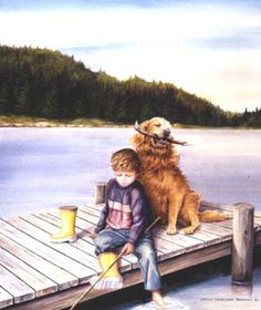 Beautiful Newfoundland artwork captured by artist Louise Andrews Me And My Dog, Lake Art, Newfoundland, Various Artists, Patience, Kids Playing, Puppy Love, Art For Kids, Labrador