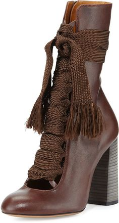 Take-your-breath-away gorgeous! Chloe Leather Lace-Up Ankle Boot, Brown Brown High Heel Boots, Brown Booties, Lace Up Booties, Lace Up Ankle Boots, Ankle Booties, Buy Boots, Shoe Boots, Crazy Shoes, Me Too Shoes