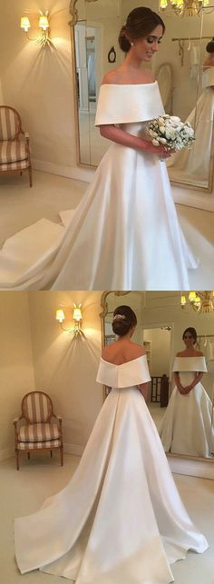 White Off the Shoulder Wedding Dresses Satin A-Line Long Prom Dresses,HS761 #fashion#promdress#eveningdress#promgowns#cocktaildress
