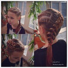 French braids, fishtail braid and Dutch five strand ribbon braid combo.
