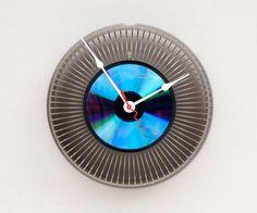 Upcycled slide carousel clock