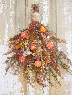 Small Country DRIED FLOWER Vertical Swag - Perfect Farmhouse Decor