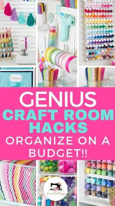 Craft and Sewing Room Makeover - Craft and Sewing Room Makeover Organize your craft room on a budget with these great tips, tricks, ​and hacks! Use ordinary everyday object to make the most out of your craft and sewing space! Sewing Room Organization, Craft Room Storage, Storage Ideas, Craft Rooms, Organization Ideas, Organizing Tips, Craft Storage Solutions, Sewing Room Storage, Organising