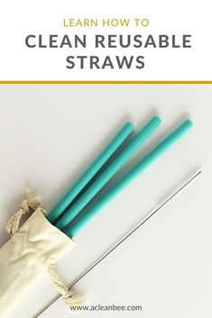 Learn how to clean reusable straws using simple tools and natural cleaning materials. #lowwaste #zerowaste #reusablestraw #plasticfree #plasticfreestraw #cleaningtips #cleaningtipsandtricks #sustainablestraws