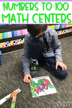 Fun math centers for kindergarten! Students practice their numbers to 100 with these printable and digital math centers! Number puzzles, center cards, counting mats, and more!