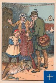 Roodkapje. Sneeuwwitje / [naar Charles Perrault] ; platen van Otto Gebhardt. - Mainz : Joseph Scholz, [191-?]. Signatuur BJ 25723.  Een Grimm-versie waarbij Roodkapje vreselijk geschrikt is, maar dankzij de jager komt alles weer goed.