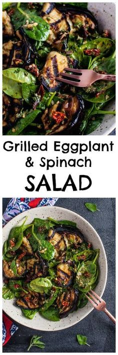 This grilled eggplant and spinach salad makes a wonderfully fresh, healthy, and filling warm weather meal. The eggplant is smoky and delicious, and the smoked paprika in the lemony dressing enhances its flavor even more. Veggie Recipes, Vegetarian Recipes, Cooking Recipes, Healthy Recipes, Spinach Recipes, Healthy Eggplant Recipes, Cooking Tips, Warm Salad Recipes, Zuchinni Recipes