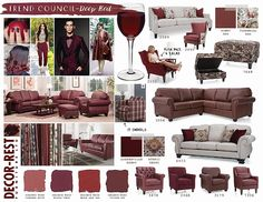 Decor-Rest Trend Council - Deep Red. You'll be seeing a lot of these colours this winter at MJM Furniture. #mjmfurniture #decorrest #deep #red #burgandy #wine #shadesofred #colour #trend #furniture #home #decor #design #homedecor #interiordesign #sofas #sectionals #madeincanada #vancouver #vancity #winter2016 #upholstery