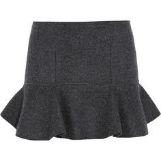 Isabel Marant Freja merino wool-felt mini skirt (1.425 BRL) ❤ liked on Polyvore featuring skirts, mini skirts, bottoms, saias, flare short skirt, merino skirt, short mini skirts, mini skirt and flared skirt