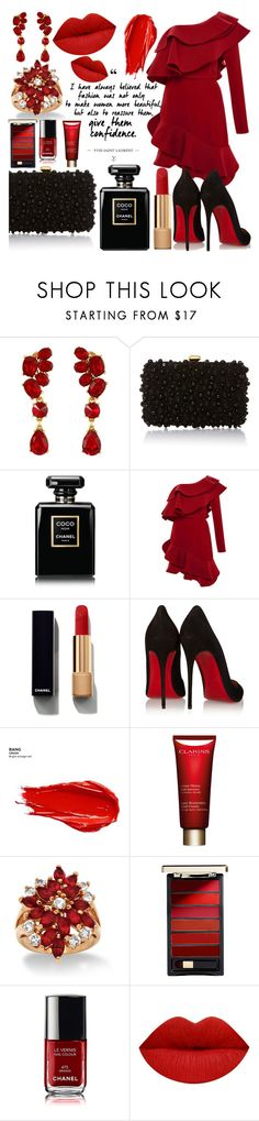 """""""Red"""" by danchaa ❤ liked on Polyvore featuring Oscar de la Renta, Elie Saab, Chanel, Johanna Ortiz, Christian Louboutin, Urban Decay, Clarins, Palm Beach Jewelry and L'Oréal Paris"""