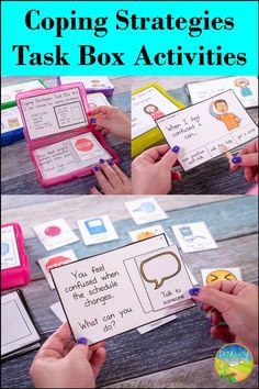 Use these coping strategies task boxes to practice social emotional learning skills in a hands-on and interactive way! Skills targeted include matching, identifying, and choosing coping skills. A total of 12 task boxes are included, each with 12 cards. These would be an ideal way for educators to target social skills and emotions to students with autism or those who need strategies for managing their emotions. Learning Skills, Skills To Learn, Social Emotional Learning, Coping Skills, Social Work, Social Skills, Anger Management For Kids, Mental Health Resources, Task Boxes