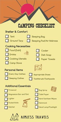 Camping Checklist Essentials | The Necessities You Need When Camping | Shelter, Cooking, Personal Items,  Misc.