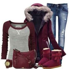 During cold winter days wear you denim pants with a warm jacket and Ugg boots or snowboots.