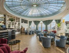The stunning glass domed ceiling of the Palm Court at Burgh Island Hotel, perfect for afternoon tea in the daytime, or elegant cocktails at night. British Beaches, British Seaside, British Isles, Top Hotels, Beach Hotels, Seaside Hotels, Mermaid Pool, Log Fires, Most Luxurious Hotels