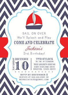 PRINTABLE Navy Red White Baby Blue Chevron Sail Boat Splash Pool Party Nautical Birthday Invitation