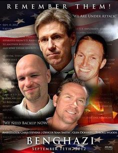 Picture these men while you're in line to vote....then ask yourself  if she'll protect you and your family from the enemy the same way she did'NT protect them!!!   These four American patriots died because Secretary of State Clinton and…