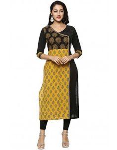 Soch Black Printed  Cotton Kurti - SZAN KT 43004 Khadi Kurti, Churidar, Printed Kurti, Printed Cotton, Yellow Kurti, A Line Kurti, Ankle Length Leggings, Kurti Neck, Gold Blouse