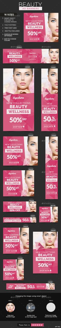 Beauty Care Web Banners Template PSD #design #ad Download: http://graphicriver.net/item/beauty-care-banners/13376638?ref=ksioks