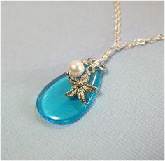 Aquamarine Necklace Starfish Jewelry Pearl Beach Jewelry Ocean Jewelry Friendship Gift