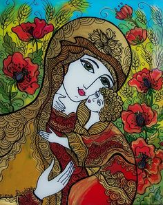 <3 Pin it and win a trip to New York, Barcelona, Berlin, Rome or London. - Glass Painting, Ukrainian Madonna in the Wheat and Poppies Field, via Etsy.