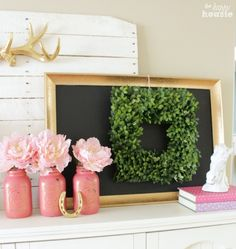 Spring mantle with a Boxwood Wreath