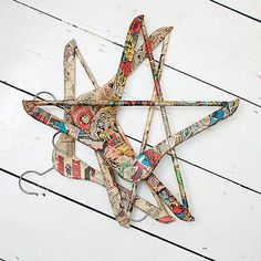 wooden hangers decoupaged with vintage comics.