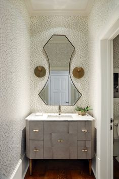 Powder — Tracy Hardenburg Designs Furniture Vanity, Bathroom Inspiration, Powder Room, Great Rooms, Memphis, Double Vanity, Bath Ideas, Cherry, Bedrooms