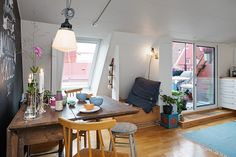 Tiny apartment offers brightness and transparency in Sweden