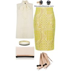 Bow Blouse + Yellow Lace by mywalletmystyle on Polyvore featuring polyvore, fashion, style, Oasis, Alexis, Lipsy and Michael Kors