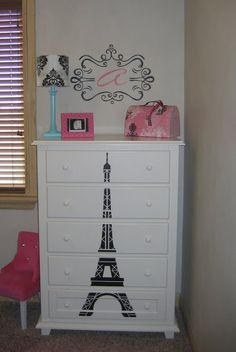 The #eiffeltower on the #dresser is fabulous! Available in 50+ colors and any size you want! Stunning #DIY designer furniture! And the framed monogram on the wall is beautiful, as well. #uppercaseliving #decor8life