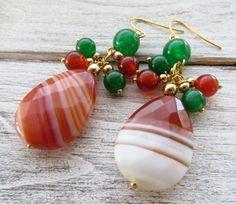 Orecchini con agata arancione, giada verde e carnelia, pendenti a goccia, bijoux