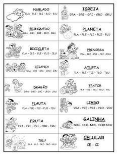 Resultado de imagem para atividades com silabas complexas