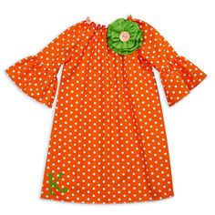 Green and orange..classic Halloween combo with a girly spin.  Halloween kid's clothing available at lollywollydoodle.com