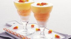 Candy Corn Smoothies - Serve your family with these smoothies made with fruit sorbet - a perfect citrusy drink for Halloween that's ready in just 20 minutes.