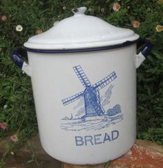 VINTAGE ENAMEL BREAD TIN, BLUE AND WHITE WITH DELFT STYLE WINDMILL ...