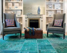 Overdyed patchwork carpet...