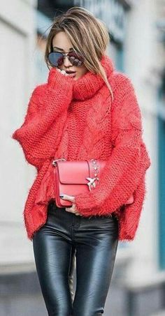 15 sweater outfits that will inspire you this winter - Frauen Mode - Sweaters Legging Outfits, Leather Leggings Outfit, Pullover Outfits, Red Sweater Outfit, Leggings Fashion, Leather Jeggings, Red Jumper, Winter Sweater Outfits, Moda Outfits